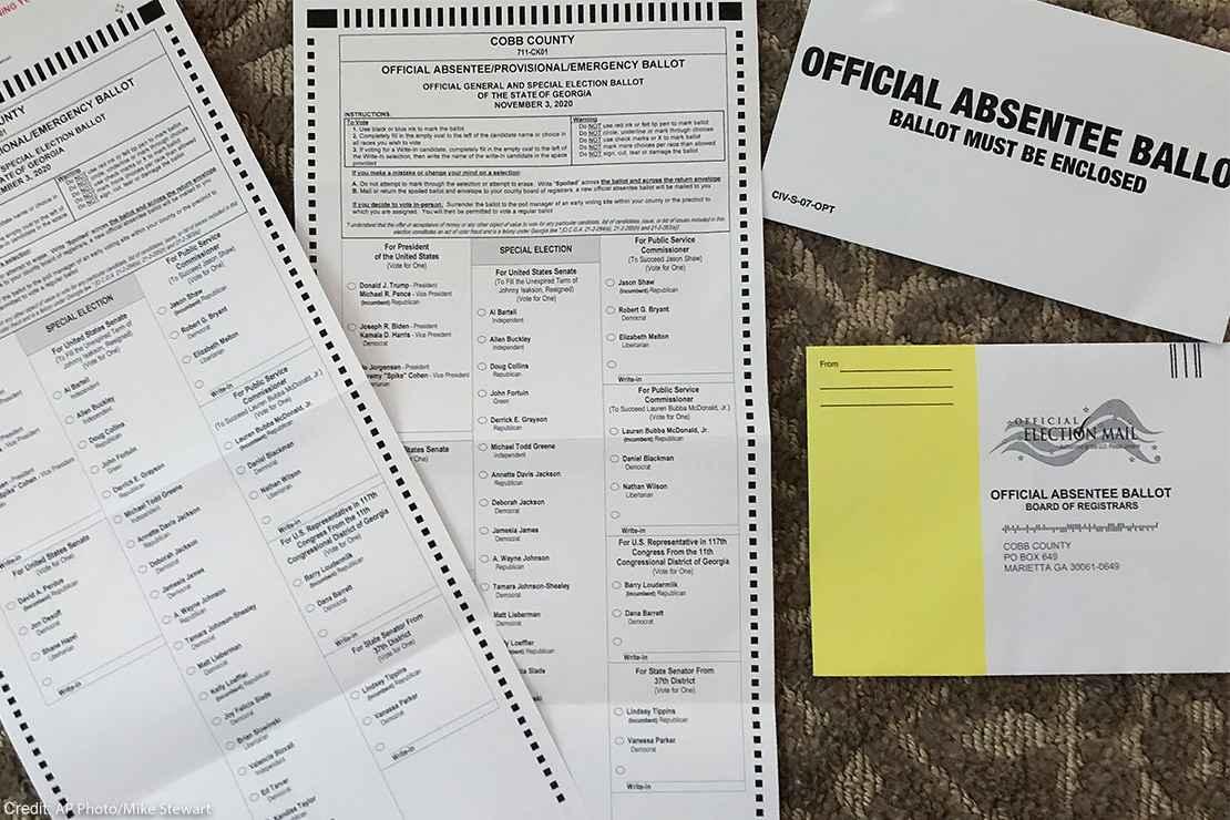 An absentee ballot.