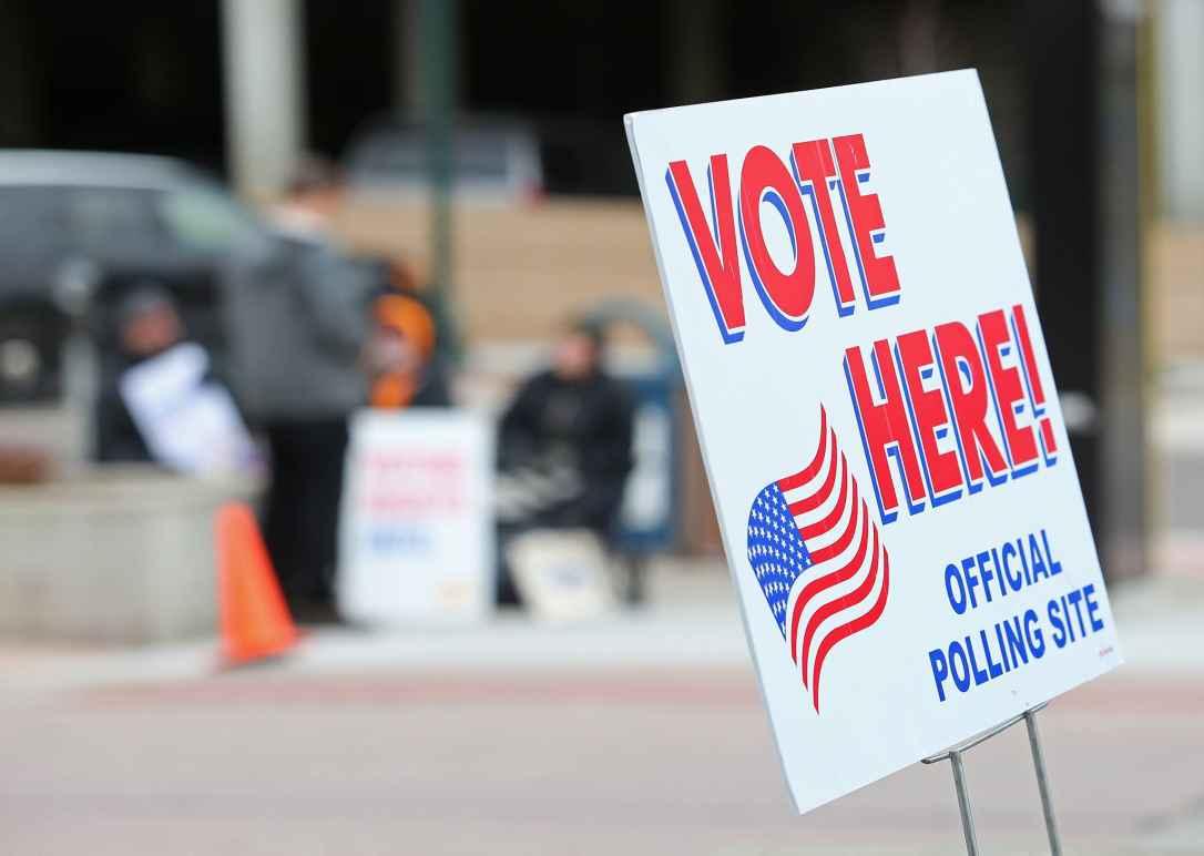 Vote here signage