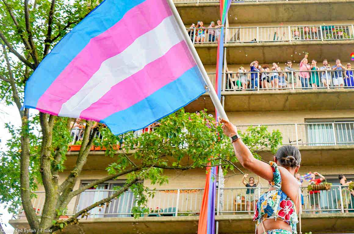 trans flag march