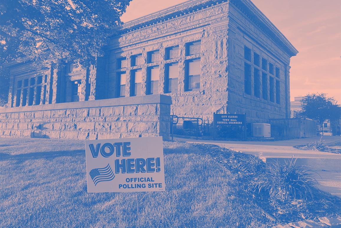 Vote here, pink blue