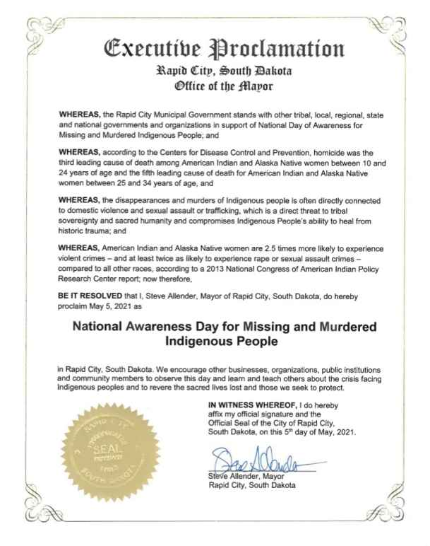 National Awareness Day for Missing and Murdered Indigenous People - Rapid City proclamation